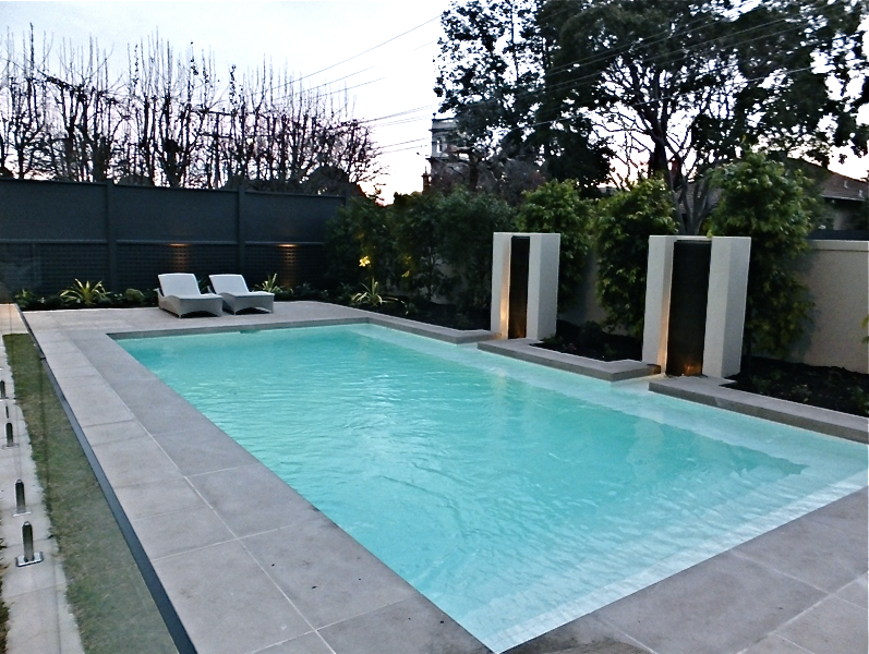Backyard Tiles Melbourne : Indoor pool and spa, fully tiled in glass mosaic with infloor cleaning