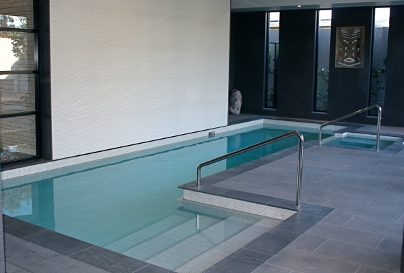 Indoor swimming pool. with feature ceramic tile
