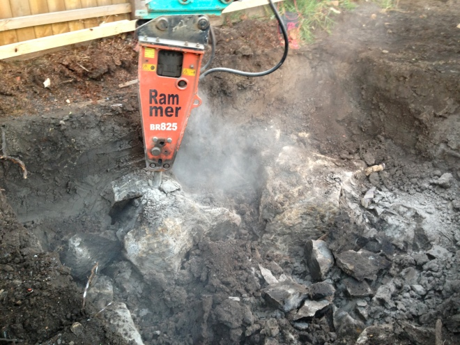 9 ton jack hammer breaking up bluestone in northcote
