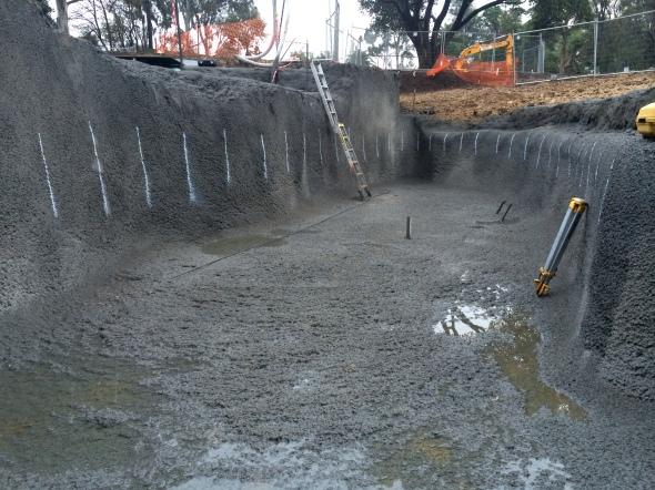 stabilised pool excavation